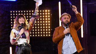 Daphné Bürki et Raphäl Yem au Théâtre Mogador à Paris lors du lancement de la chaîne CultureBox le 1er février 2021 (BERTRAND GUAY / AFP)