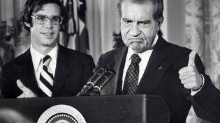 Richard Nixon, président des USA à la Maison-Blanche à Washington, le 9 août 1974. (AFP FILES / AFP)
