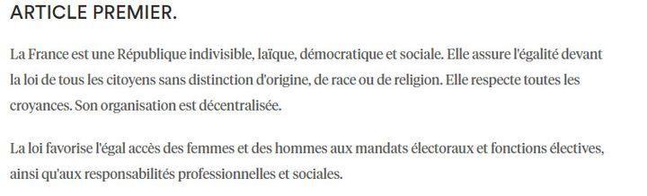 L'article 1er de la Constitution est aujourd'hui composé de ces deux alinéas. (CONSEIL-CONSTITUTIONNEL.FR)