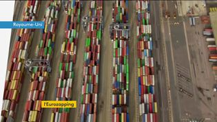 Le port britannique de Felixtowe engorgé (FRANCEINFO)