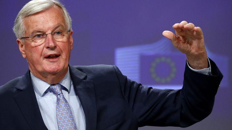Le négociateur européen pour le Brexit, Michel Barnier, le 15 mai 2020 à Bruxelles (Belgique). (FRANCOIS LENOIR / AFP)