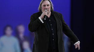 Gérard Depardieu lors du meeting de Villepinte (Seine-Saint-Denis), dimanche 11 mars 2012. (THOMAS COEX / AFP)