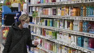 Le région hygiène d'un supermarché du Haut-Rhin. Photo d'illustration. (SEBASTIEN BOZON / AFP)