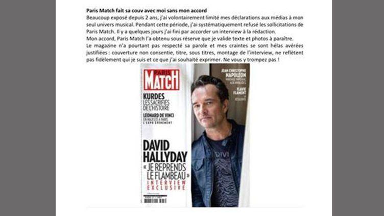 David Hallydayclame haut et fort qu'il ne cautionne pas la Une de Paris Match sur lui, faite sans sa validation, le 23 octobre 2019. (Press David Hallyday)