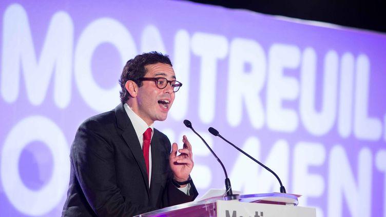 Le député socialiste Razzy Hammadi lance sa campagne pour l'élection municipale à Montreuil (Seine-Saint-Denis), le 19 décembre 2013. (  MAXPPP)