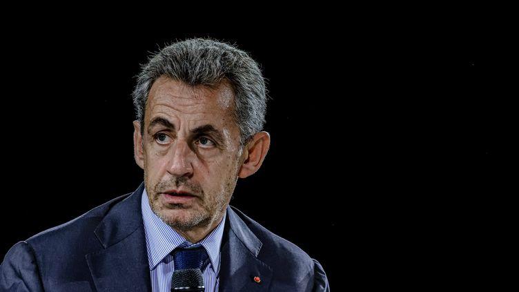 L'ancien président de la République Nicolas Sarkozy lors du congrès des experts-comptables à Bordeaux (Gironde) le 8 octobre 2021 (GUILLAUME BONNAUD / MAXPPP)