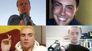 Captures d'écran de vidéos postés sur YouTube par des criminels. (De G à D)Matti Juhani Saari, Michael Colin Nodianos, Luka Magnotta etDillon Cossey. (FRANCETV INFO)
