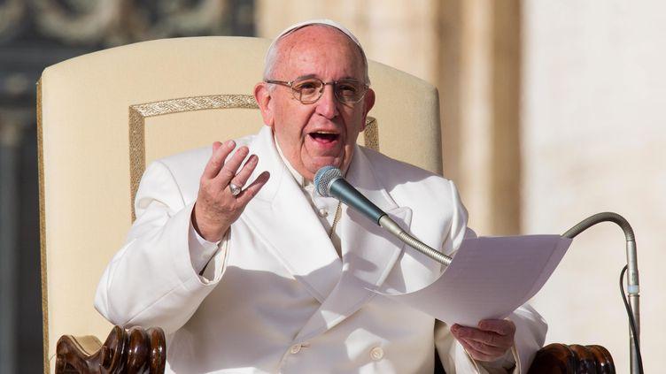 Le pape François lors de l'audience générale du 27 janvier 2016, sur la place Saint-Pierre, au Vatican. (MAXPPP)