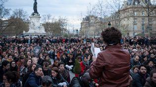 Des manifestants de la Nuit debout, le 11 avril 2016 à Paris. (RODRIGO AVELLANEDA / ANADOLU AGENCY / AFP)