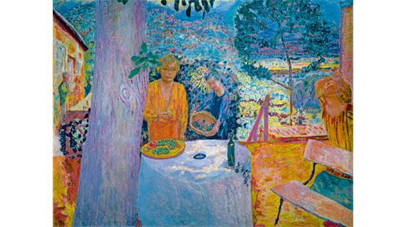 "Pierre Bonnard, ""Décor à Vernon"" (""La Terrasse à Vernon""), vers 1920/1939. Huile sur toile, 148 × 194,9 cm. The Metropolitan Museum of Art, New York, don de Florence J. Gould 1968. (PHOTO: BPK /THE METROPOLITAN MUSEUM OF ART, NEW YORK© 2012, PROLITTERIS, ZURICH)"