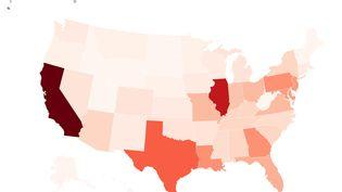 La carte des fusillades aux Etats-Unis depuis le début de l'année 2019. (FRANCEINFO)
