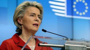 La présidente de la Commission européenne, Ursula von der Leyen, à Bruxelles, en Belgique, le 29 octobre 2020. (DURSUN AYDEMIR / ANADOLU AGENCY / AFP)