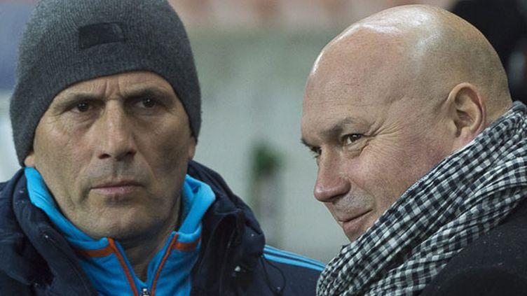 L'ex-entraîneur de l'OM Elie Baup et le directeur sportif José Anigo
