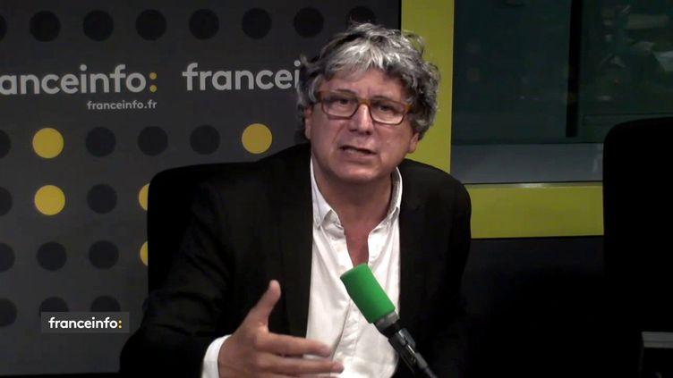 Le député La France Insoumise de Seine-Saint-Denis, Éric Coquerel, dans le studio de franceinfo vendredi 25 mai 2018. (FRANCEINFO)