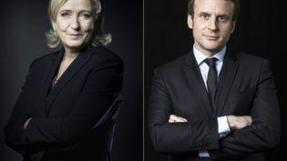 Emmanuel Macron et Marine Le Pen sont en tête des intentions de vote, d'après un sondage publié par Harris Interactive, le 6 avril 2017. (JOEL SAGET / AFP)