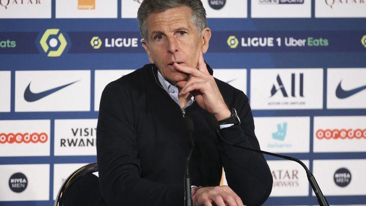 """Claude Puel dénonce un """"passage en force"""" au sujet de la Ligue 1 à 18, vendredi 30 avril en conférence de presse. (JEAN CATUFFE / JEAN CATUFFE)"""