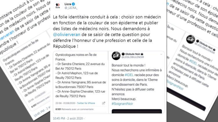 La Licra annonce, sur son compte Twitter, avoir contacté le ministre de la Santé. (CAPTURE D'ECRAN TWITTER / FRANCEINFO)