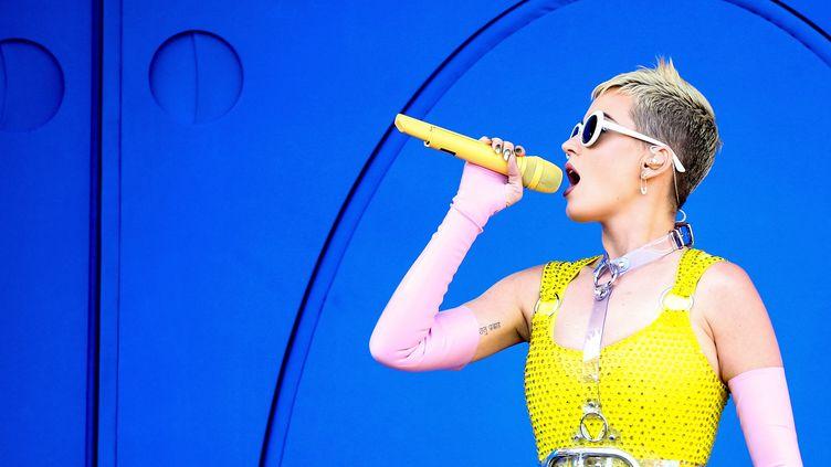 La chanteuse Katy Perry, le 13 mai 2017 à Carson en Californie (Etats-Unis). (RICH FURY / GETTY IMAGES / AFP)