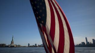 Le drapeau américain au premier plan et la Statue de la Liberté en arrière plan. (JOHANNES EISELE / AFP)