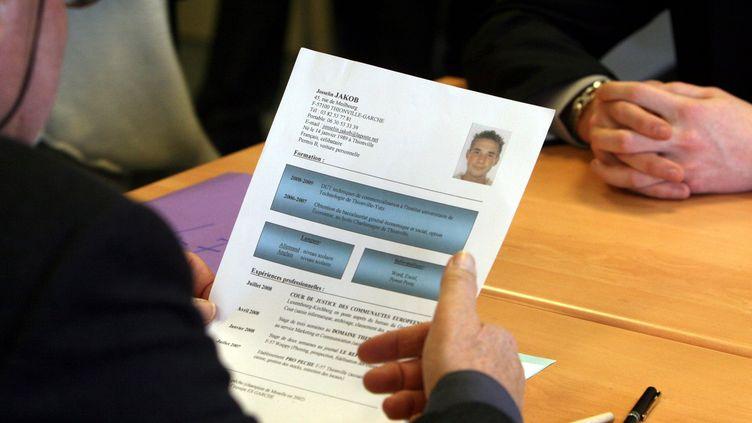 Un CV étudié par un employeur face à un candidat. Photo d'illustration. (PELAEZ JULIO / MAXPPP)