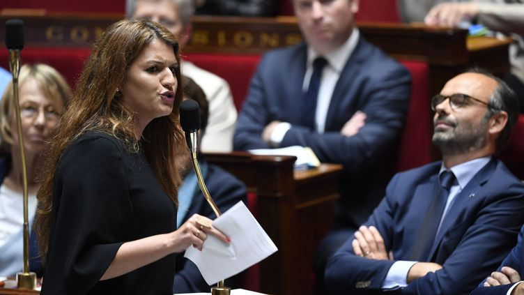 Marlène Schiappa,secrétaire d'Etat à l'Egalité entre les femmes et les hommes, le 15 mai 2018, à l'Assemblée nationale à Paris. (CHRISTOPHE SIMON / AFP)