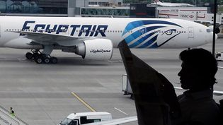 Un avion Egyptair sur le tarmac de l'aéroport d'Heathrow, à Londres (Royaume-Uni), le 8 juin 2016. (YANNIS BEHRAKIS / REUTERS)