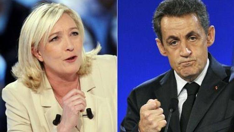 Marine Le Pen (mars 2011) et Nicolas Sarkozy (novembre 2011). (AFP - François Guillot - Pierre Andrieu)