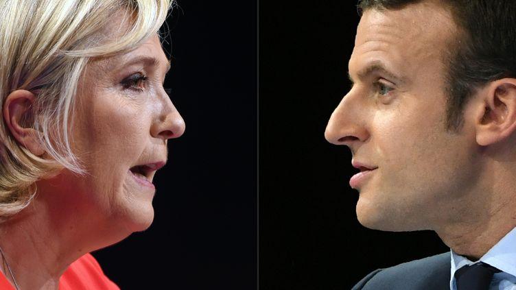 Marine Le Pen et Emmanuel Macron sont les deux candidats qualifiés pour le second tour de l'élection présidentielle de 2017. (GUILLAUME SOUVANT / AFP)