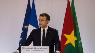 Le président de la République Emmanuel Macron lors de son discours à l'université de Ouagadougou le 28 novembre 2017 (OLYMPIA DE MAISMONT / ANADOLU AGENCY)