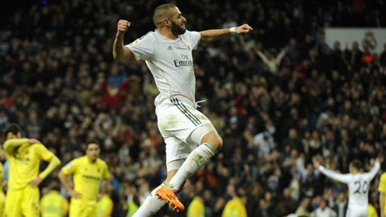La joie de Karim Benzema (PEDRO ARMESTRE / AFP)