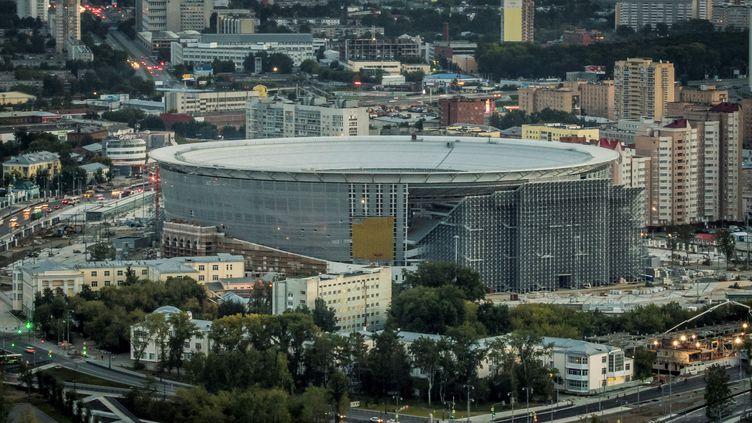 Vue aérienne de l'Arena d'Ekaterinbourg, en Russie, le 19 août 2017. (MLADEN ANTONOV / AFP)