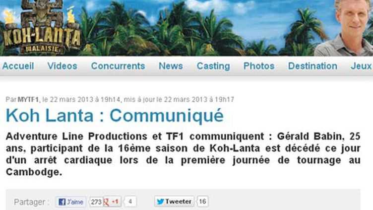 (Capture d'écran du site de TF1)