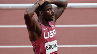 L'Américain Trayvon Bromell, éliminé dès les demi-finales du 100 m des Jeux olympiques de Tokyo. (GIUSEPPE CACACE / AFP)