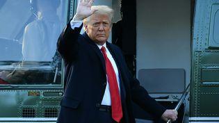 Donald Trump quitte la Maison Blanche, le 20 janvier 2021, à Washington DC. (MANDEL NGAN / AFP)