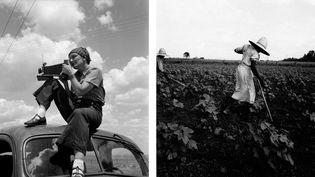 """A gauche, photo de Paul S. Taylor, """"Dorothea Lange au Texas sur les Plaines"""" vers 1935 - A droite, Dorothea Lange, """"Near Eutah, Alabama"""", 1936  (A gauche et à droite © The Dorothea Lange Collection, the Oakland Museum of California, City of Oakland. Gift of Paul S. Taylor)"""