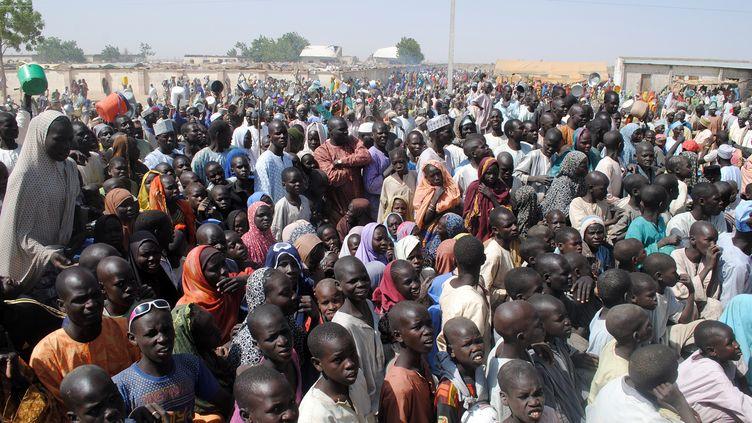 Cette photo prise le 2 février 2016 montre des personnes déplacées au camp de Dilkwa, dans l'Etat nigérian de Borno. (STRINGER / AFP)