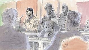 Illustration dessinée pendant le procès de Mehdi Nemmouche, à Bruxelles, le 23 janvier 2019. (IGOR PREYS / BELGA MAG /AFP)