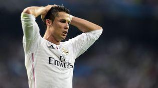 L'attaquant du Real Madrid Cristiano Ronaldo, lors de la demi-finale retour de la Ligue des champions perdue contre la Juventus Turin (1-1, 1-2), le 13 mai 2015, à Madrid. (GERARD JULIEN / AFP)