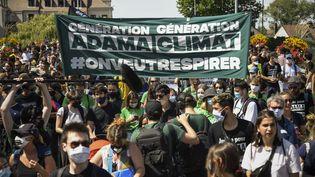 La marche pour Adama Traoré a rassemblé militants des droits de l'homme et écologistes dans le Val-d'Oise, le 18 juillet 2020. (BERTRAND GUAY / AFP)