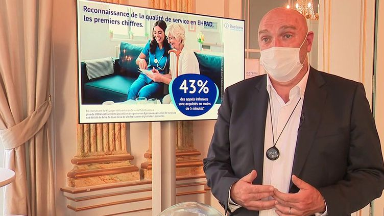 Laurent Levasseur, le dirigeant de l'entreprise Bluelinea, dans les Yvelines. (France 3)