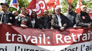 Le carré de tête du cortège lors de la manifestation du 28 avril 2016, à Paris, contre la loi Travail. (ALAIN JOCARD / AFP)