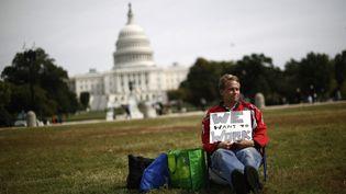 Un fonctionnaire américain manifeste seul sur la pelouse du Washington Mall, le 8 octobre 2013. (JASON REED / REUTERS)