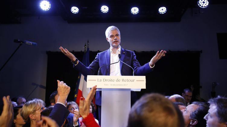 Laurent Wauquiez, élu dès le premier tour président de son parti, Les Républicains, le 10 décembre 2017 à Paris. (MAXPPP)
