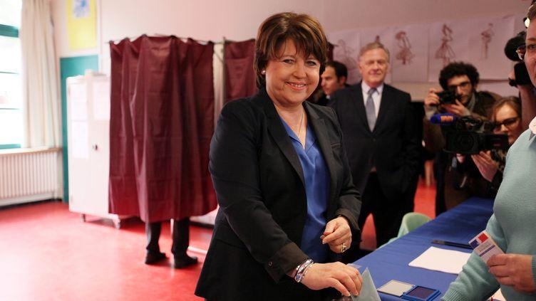 La maire sortante (PS) de Lille (Nord), candidate à sa propre succession, Martine Aubry, le 23 mars 2014. (CITIZENSIDE / THIERRY THOREL / AFP)