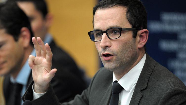 Benoît Hamon s'exprime lors d'une conférence de presse sur le scandale de la viande de cheval, le 12 mars 2013, à Strasbourg. (FREDERICK FLORIN / AFP)