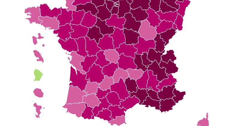 La carte du taux d'incidence par département au 19 mars 2021. (FRANCEINFO)