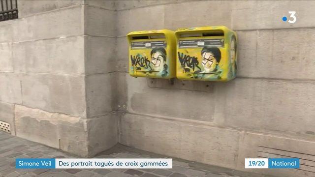 Simone Veil : des portraits tagués de croix gammées