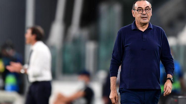 L'entraîneur italien de la Juventus, Maurizio Sarri, à Turin, le 7 août 2020.  (MIGUEL MEDINA / AFP)