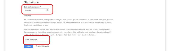 """Capture d'écran du formulaire de """"droit à l'oubli"""" de Google. (YANN THOMPSON / FRANCETV INFO)"""