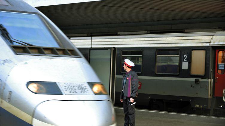 Un employé de la SNCF, le 5 décembre 2011 à Saint-Pierre-des-Corps (Indre-et-Loire). (ALAIN JOCARD / AFP)